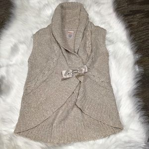 Gymboree tan color cardigan with bow.